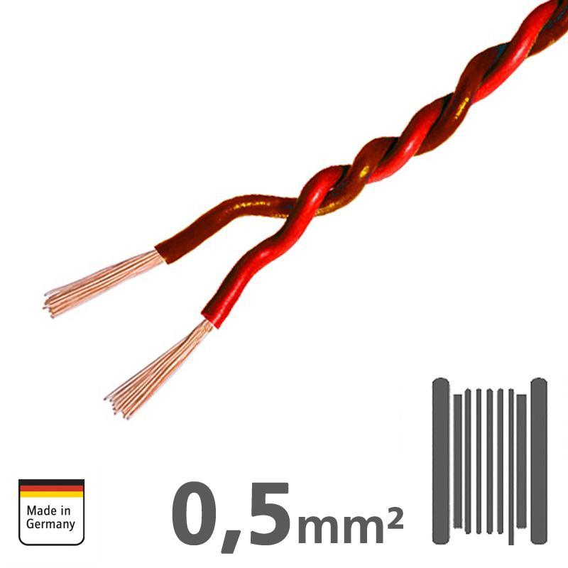 Ampire IKV050-RT-50 Διπλό καλώδιο χαλκού Κόκκινο/Καφέ 2x 0,5mm² Ρολό 50 μέτρων